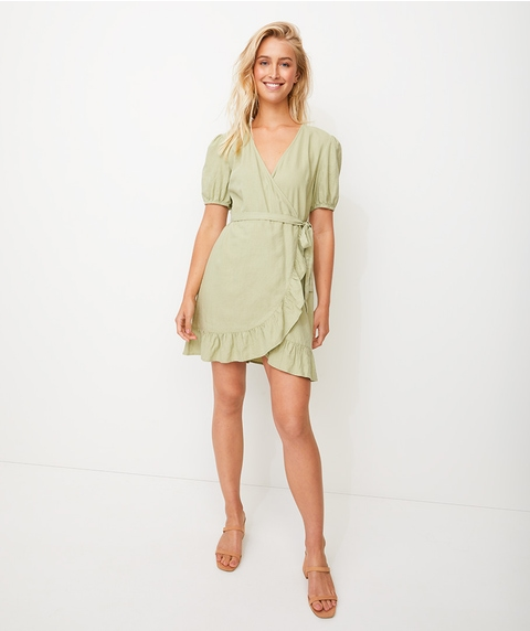 PUFF SLV LINEN WRAP MINI DRESS