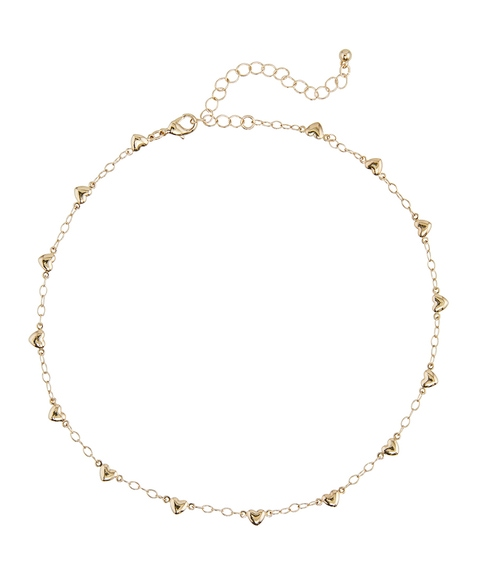GOLD STATIONED HEART CHOKER