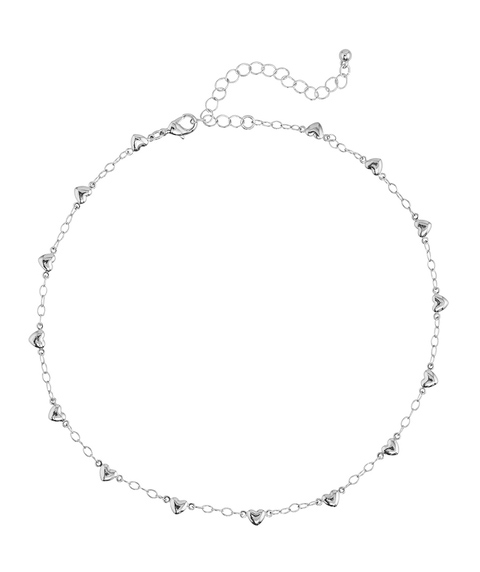 SILVER STATIONED HEART CHOKER