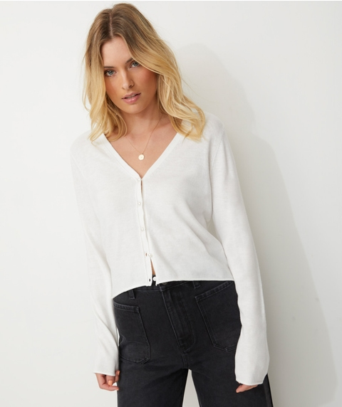 CROP BUTTON UP CARDI