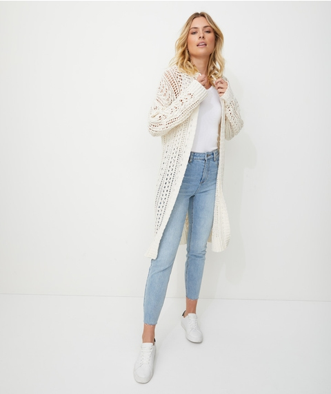 LONGLINE CABLE POINTELLE CARDI