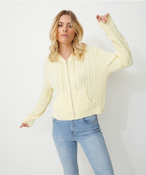 ZIP FRONT CABLE CARDI