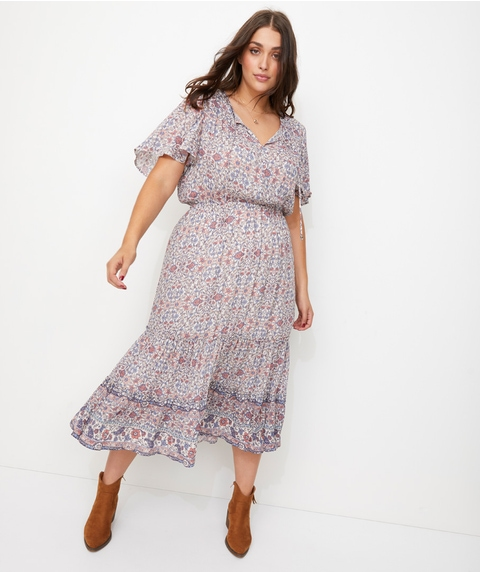 SHORT SLEEVE BOHO MIDI DRESS