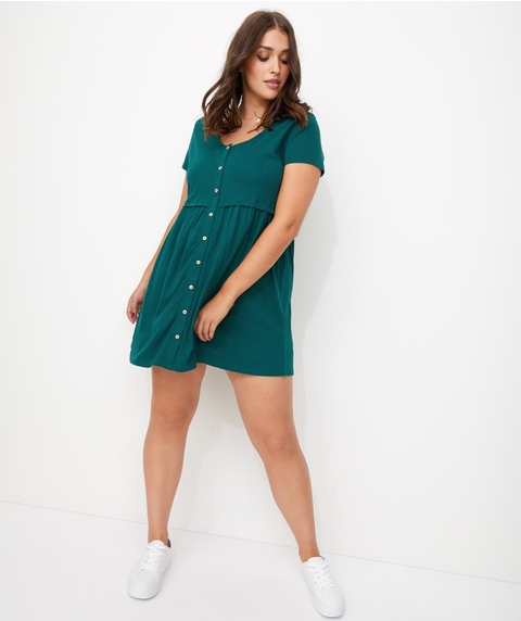 BUTTON FRONT TEE DRESS