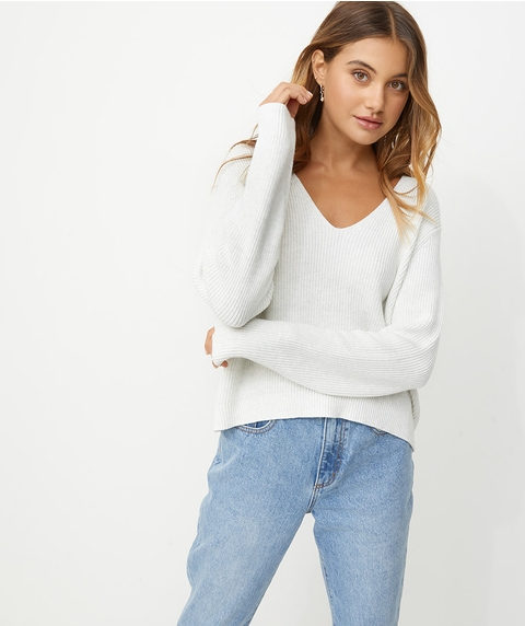 V NECK RIB JUMPER