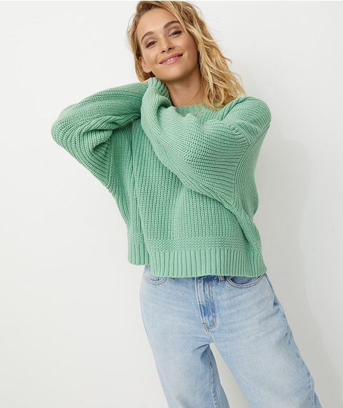 STITCH INTEREST RIB JUMPER
