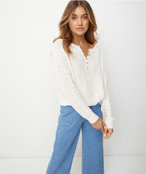 CROCHET STITCH HENLEY JUMPER