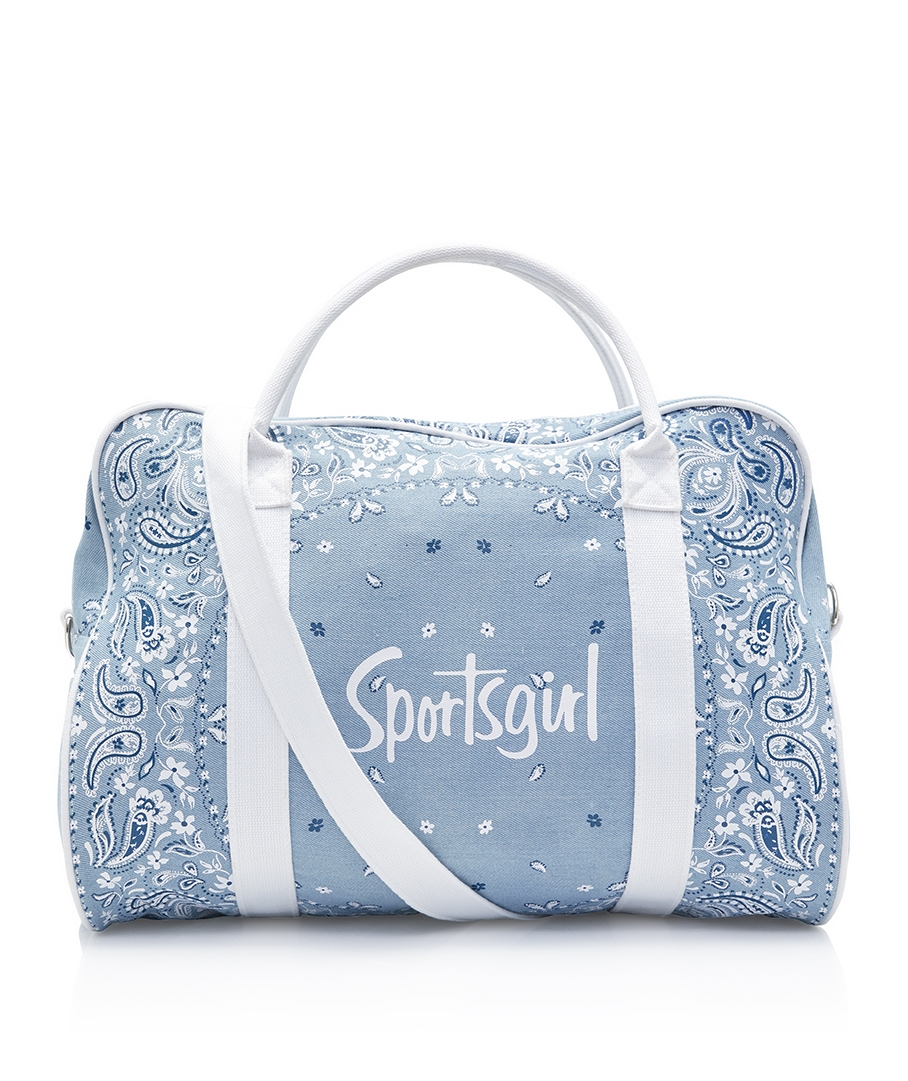 Vintage Style Blue and White Paisley Print Sports Bag