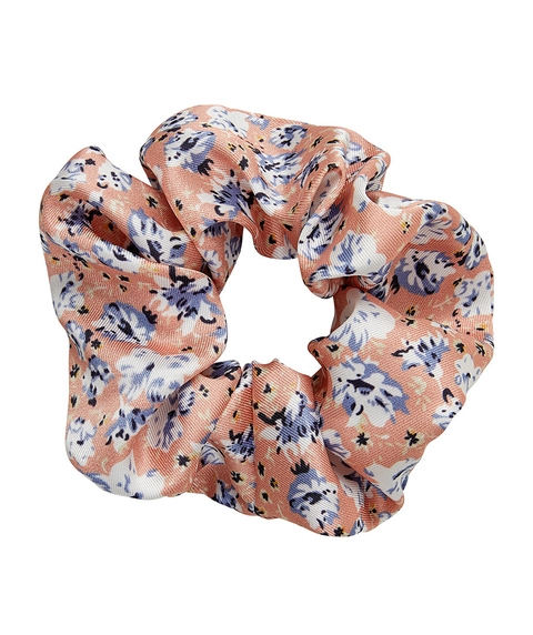 PEACH FLORAL SCRUNCHIE