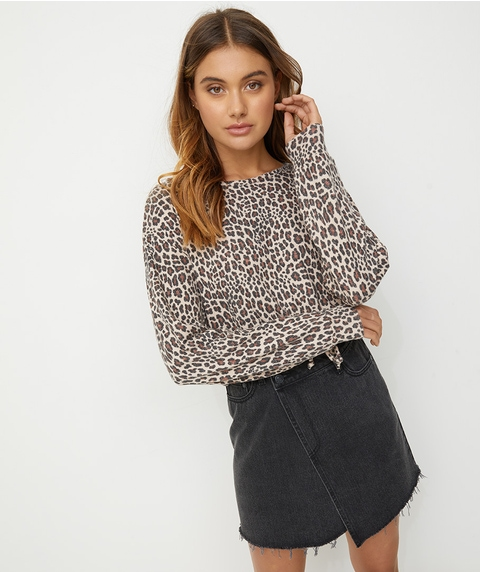 ANIMAL PRINT LEXA TIE TOP