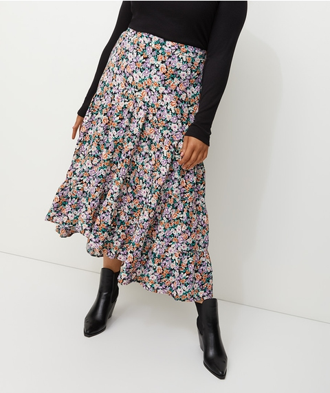 FLORAL CREPE ASYMMETRIC TIERED MIDI SKIRT