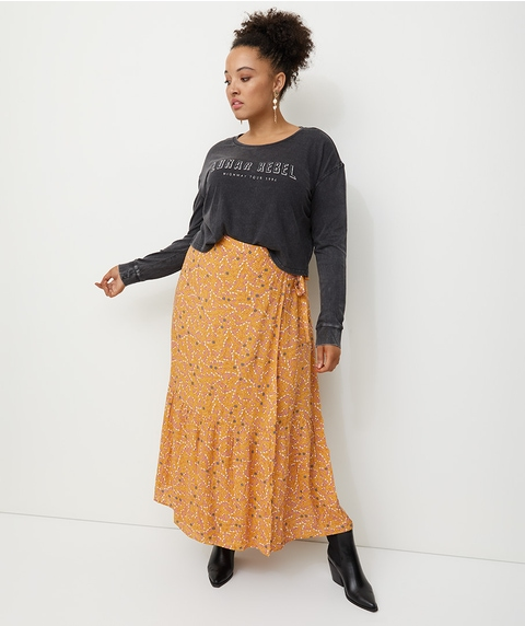 SPLICED BOHO WRAP MAXI SKIRT