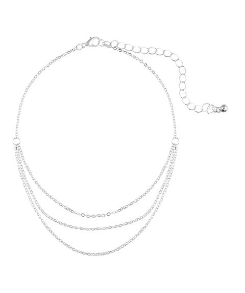 SILVER LAYERED CHAIN ANKLET