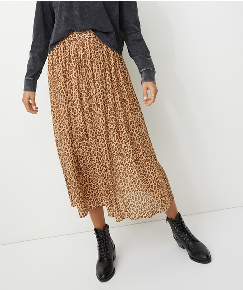 GATHERED SHEER MIDI SKIRT