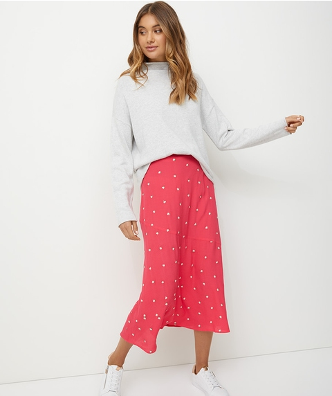 EMBROIDERED 90S MIDI SKIRT