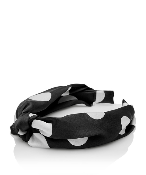 BLACK & WHITE SPOT KNOT HEADBAND