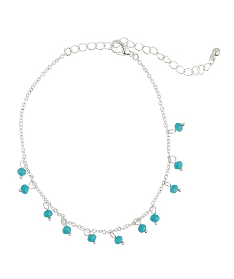 SILVER & TURQ DROPLETS ANKLET