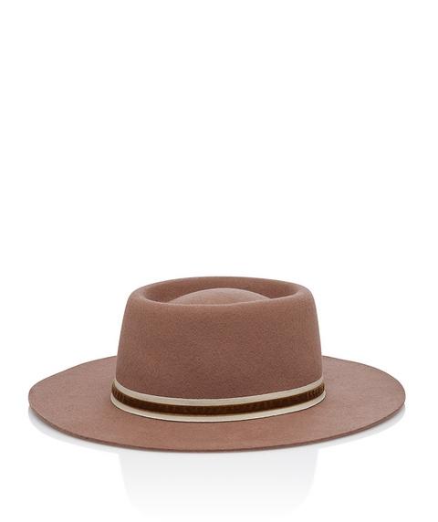 CAMEL FELT BOATER HAT
