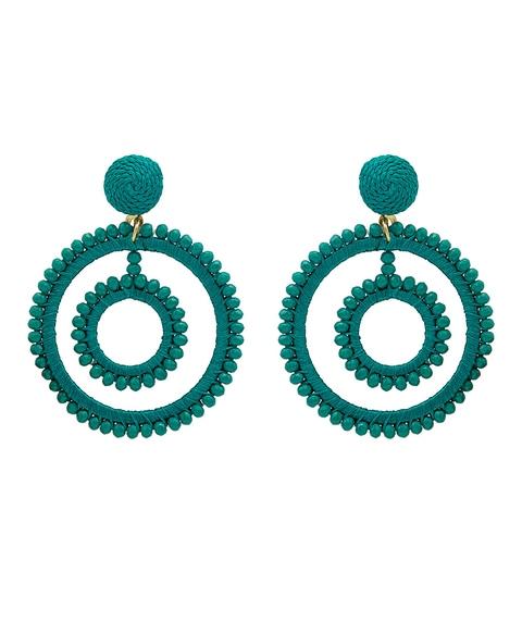 EMERALD BEADED CIRCLE EARRINGS