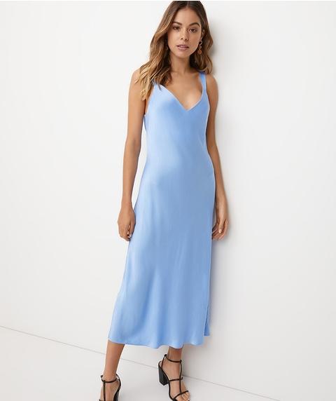 TEXTURED SATIN SLIP DRESS