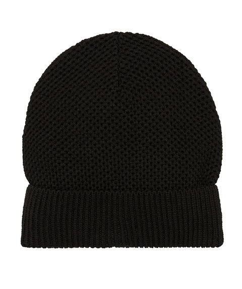 BLACK ECO TURN UP BEANIE