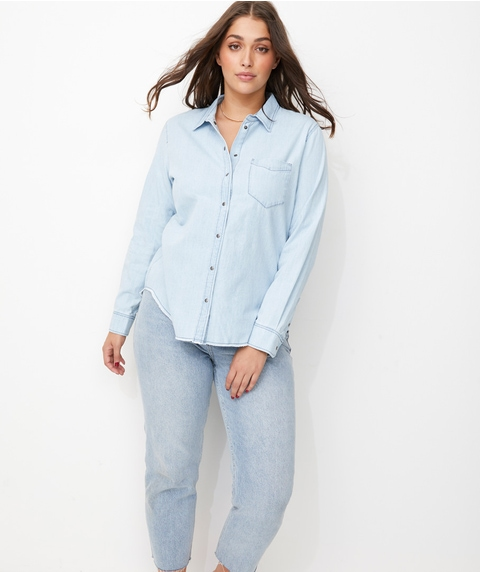 DENIM FRAY HEM SHIRT