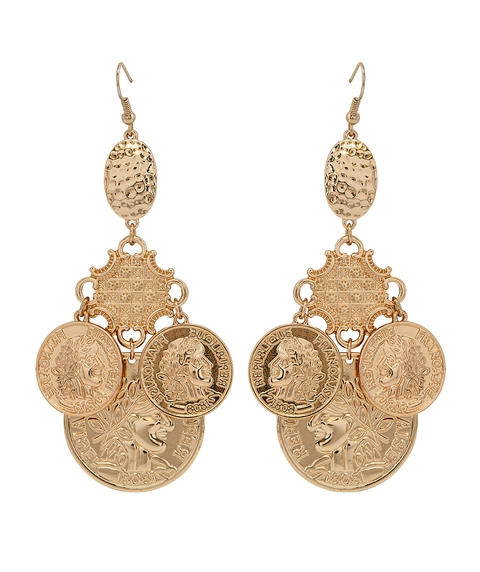 TIERED COIN DANGLE EARRING