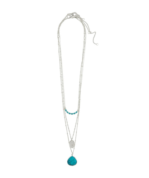 SILVER TURQUOISE STONE LAYERED NECKLACE PACK