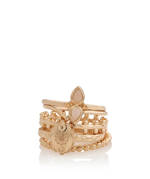 GOLD COIN & STONE RING PACK