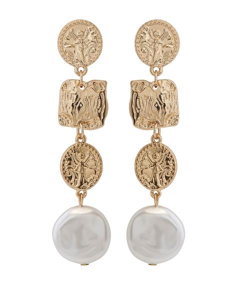 GOLD TEXTURED & PEARL DANGLE EARRINGS