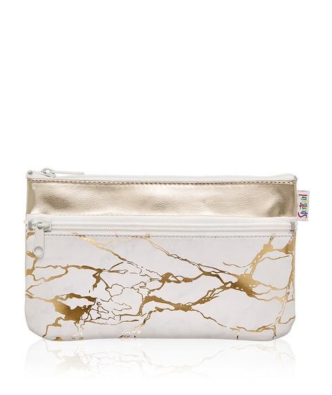 GOLD MARBLE DOUBLE ZIPPER BEAUTY BAG