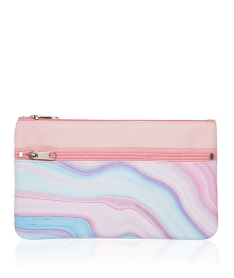 PINK AND BLUE MARBLE DOUBLE ZIPPER BEAUTY BAG