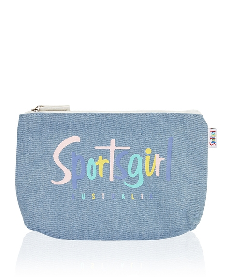 EMILY DENIM PASTEL LOGO BEAUTY BAG