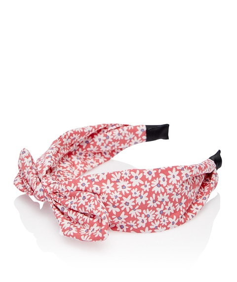 PINK FLORAL BOW HEADBAND