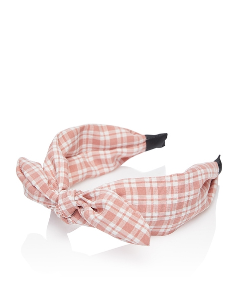 PINK GINGHAM BOW HEADBAND