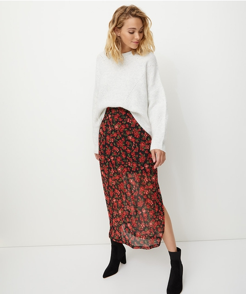 ROSE MESH MIDI SPLIT SKIRT