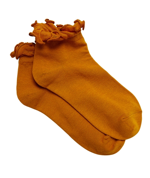 MUSTARD FRILL DETAIL ANKLE SOCK
