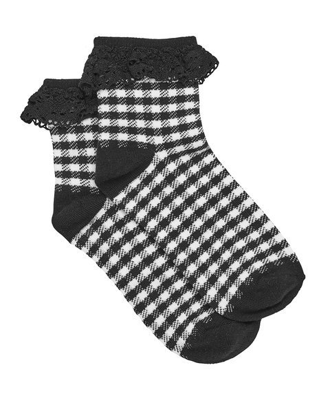 GINGHAM BROIDERY SOCK