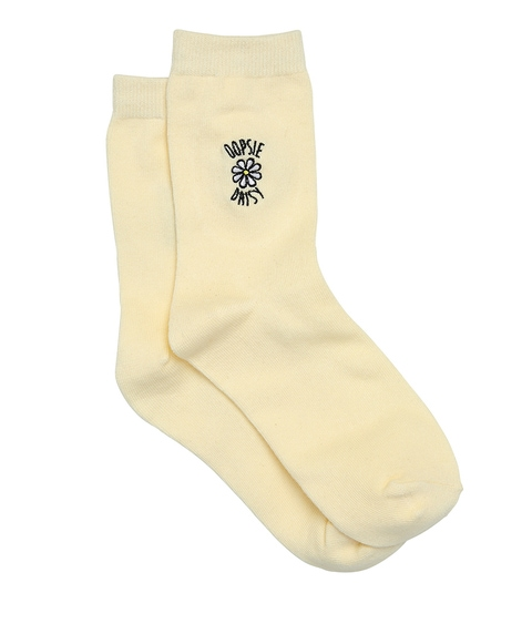 OOPSIE DAISY EMBROIDERY CREW SOCK