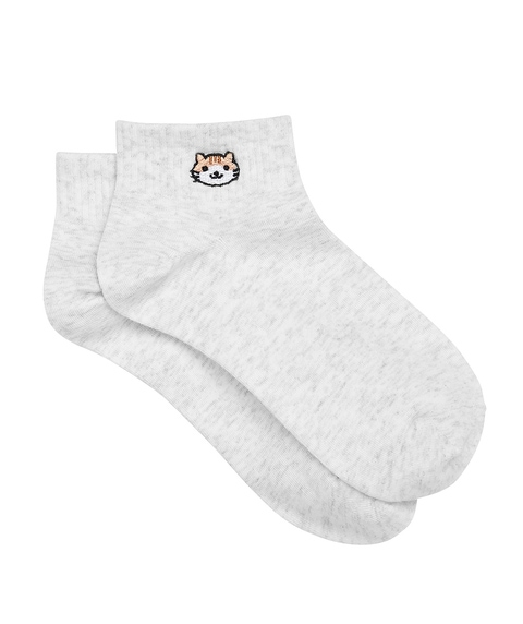 CAT EMBROIDERY RIBBED ANKLE SOCK
