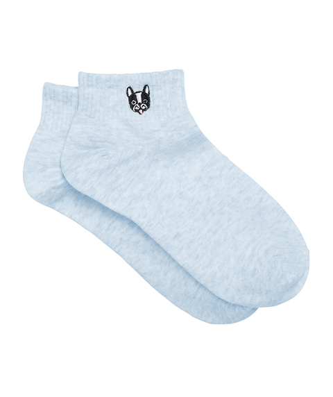 FRENCH BULLDOG EMBROIDERY RIBBED ANKLE SOCK