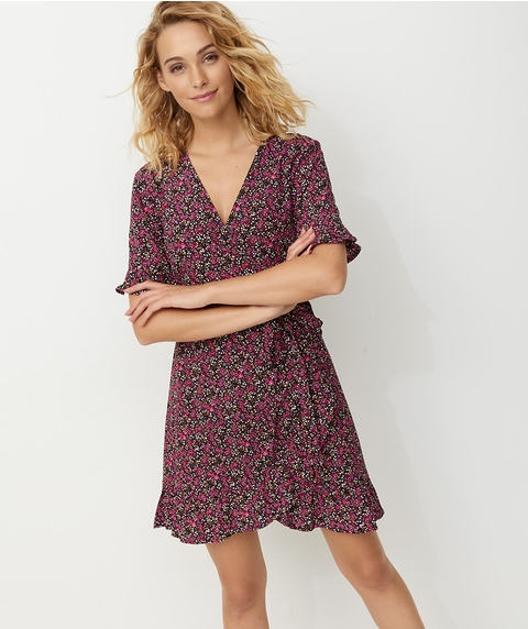 RUFFLE HEM WRAP DRESS