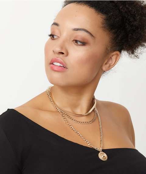 GOLD TORI MIXED CHAIN NECKLACE