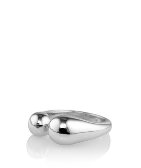 SILVER CHUNKY BALL DETAIL RING