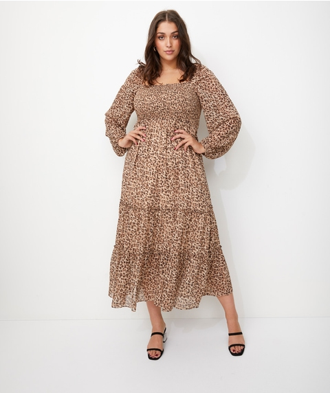 LEOPARD SHIRRED MAXI DRESS