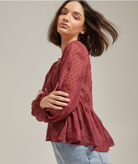 DOBBY EMBROIDERED BLOUSE