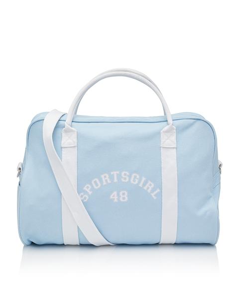 BLUE VARSITY LOGO DUFFLE BAG