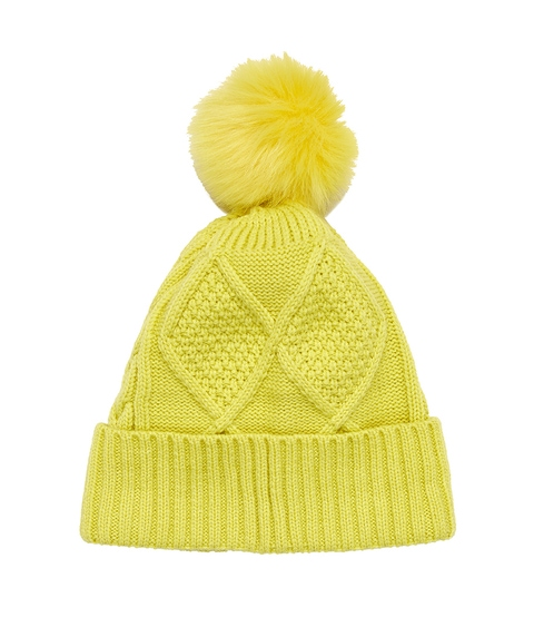 NEON YELLOW ECO CABLE POM POM BEANIE