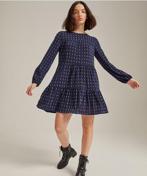 TIERED PRINTED LONGSLEEVE DRESS