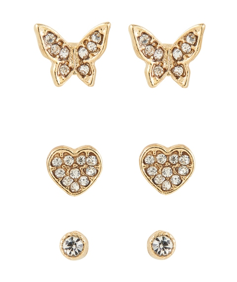 GOLD BUTTERFLY STUD 3 PACK